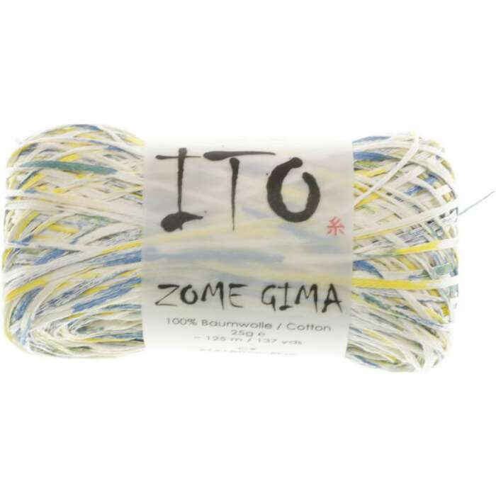 25g ITO - Zome Gima reine Baumwolle Farbe 614 Lemon Blue