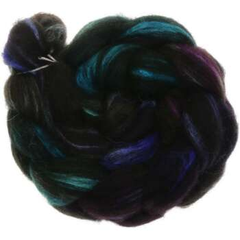 Funnies to Spin - Black Shetland black mit Tussah Seide...